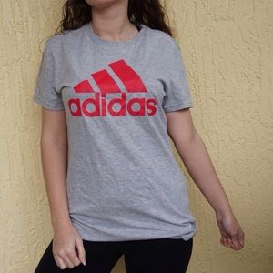 Grey adidas logo T shirt